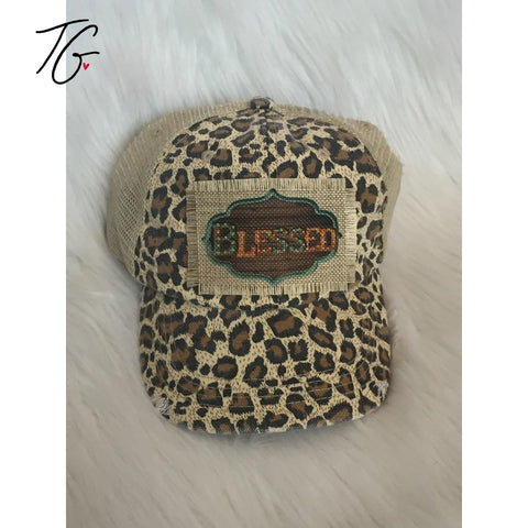 Blessed Sign Leopard Mesh Hat (5791581765784)