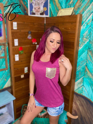 Burgundy Tank Top Sequin Pocket (5675527176344)