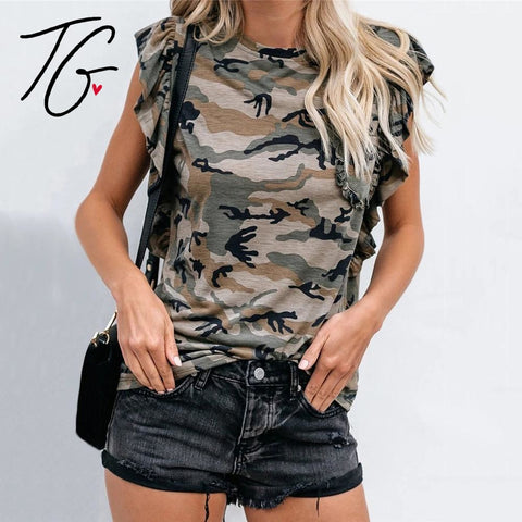 Camo Ruffle So Soft Top (5675526324376)