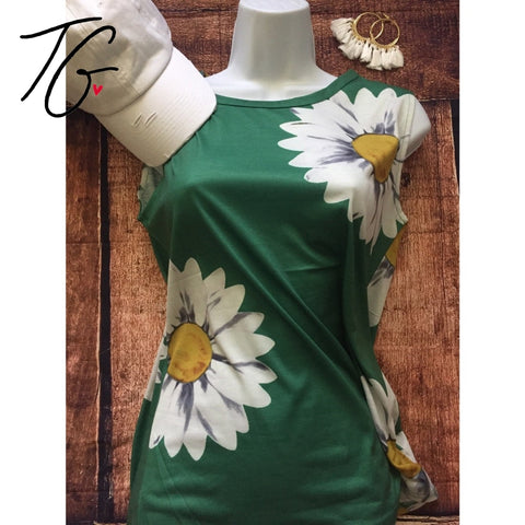 Casual Sunflower Printed Tank Top (5675527274648)