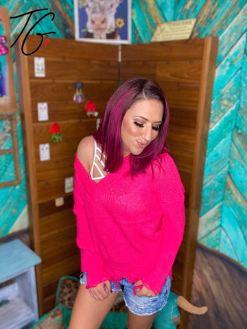 Hot Pink Distressed Sweater (5675515084952)
