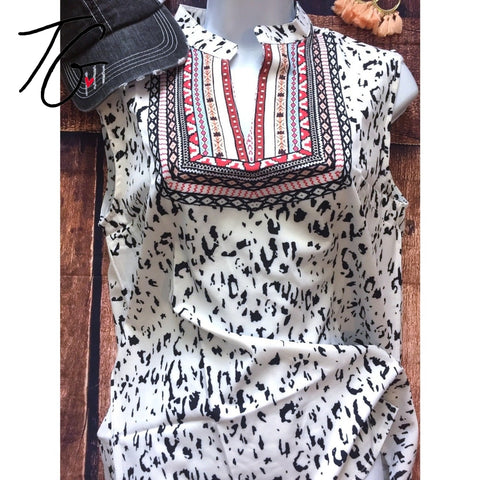 Leopard Boho Soft Light Top (5675527078040)