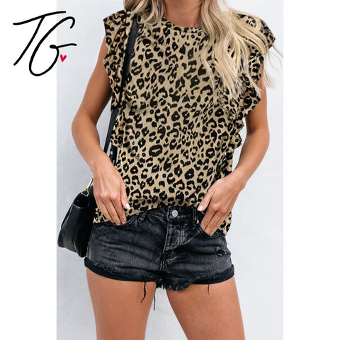 Leopard Ruffle So Soft Top (5675519901848)