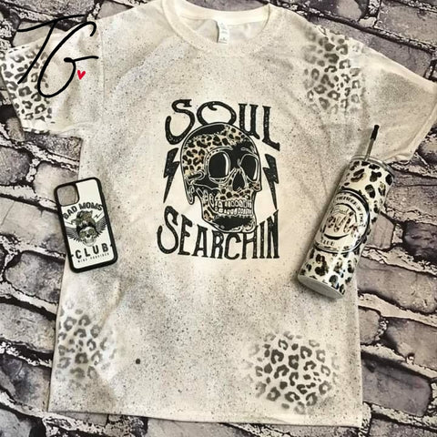 Leopard skulls soul searchin T-Shirt (6640280010904)