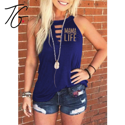 Mama Life Hollow Tank Top (5675518492824)