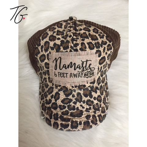 Namaste 6 Feet Away Leopard Mesh Hat (5792083804312)