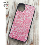 Pink Leather Look Rubber iPhone Case (5796769398936)