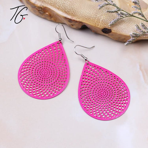 Pink Tear Drop Earring (5675515969688)
