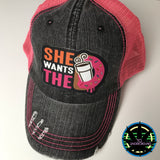 Funny Humor Pony Tail Hat - She wants the D (6204540158104)