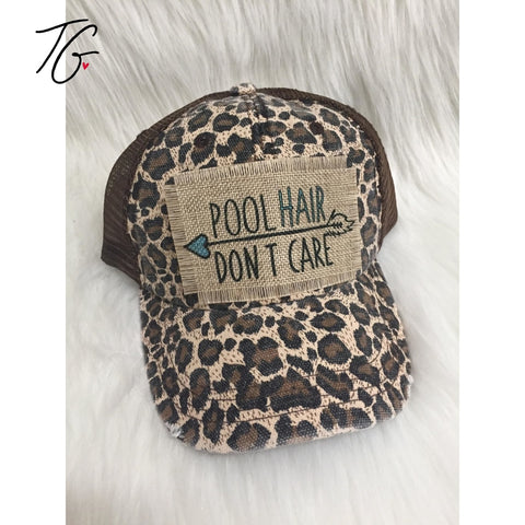 Pool Hair Don't Care Leopard Mesh Hat (5791404654744)