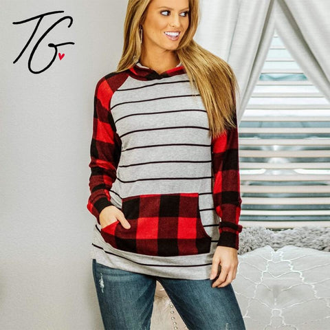 Red Plaid, White Striped Hoodie (6104637931672)