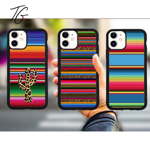 Serape Print Variations Rubber iPhone Case (5800291631256)