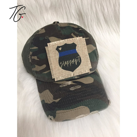 Support Blue Line Camo Mesh Hat (5791415861400)