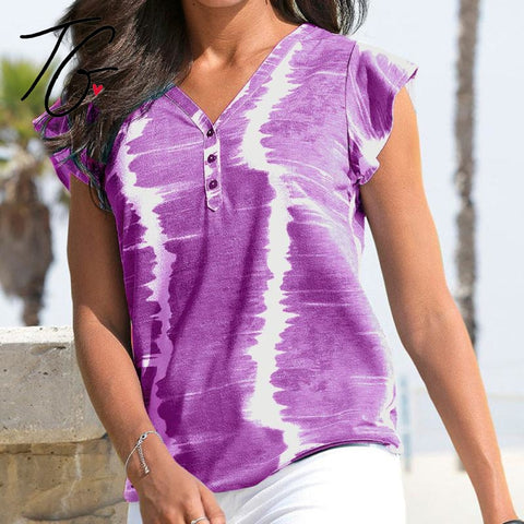 V Neck Tie Dye Purple Top (5675520098456)