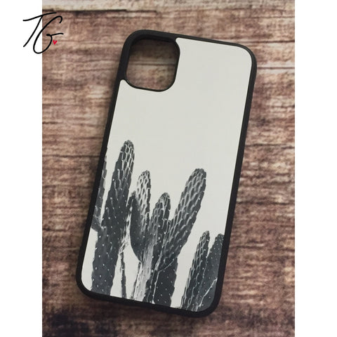 White Cactus Rubber iPhone Case (5796777984152)