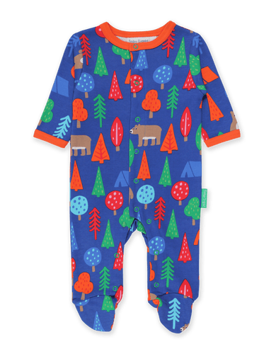 Toby Tiger Camping Bear Print Sleepsuit