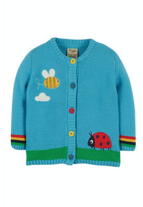 Frugi  Cuddly Knitted Cardigan, Mid Blue/Bee Front