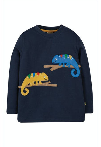 Frugi Adventure Applique Top - Chameleon Front