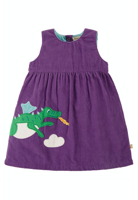 Frugi Lilly Cord Dress - Dragon Front