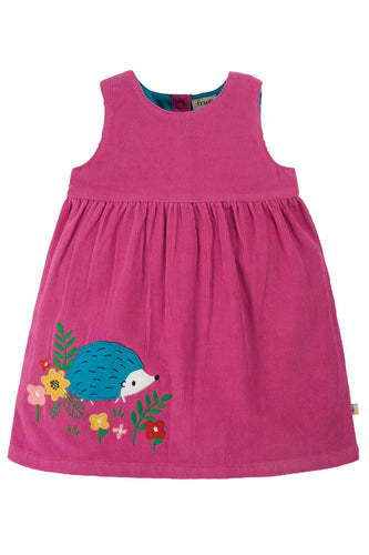 Frugi Liily Cord Dress - Hedgehog, Front
