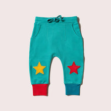 Load image into Gallery viewer, Little Green Radicals Peacock Blue Star Joggers