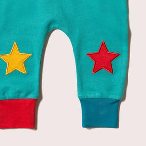 Little Green Radicals Peacock Blue Star Joggers Close Up
