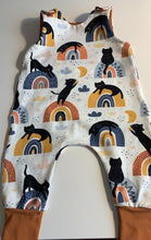 Load image into Gallery viewer, Handmade Romper - Rainbow Cats Print