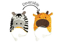 Load image into Gallery viewer, Reversible Winter Hat - Zebra/Giraffe