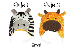 Reversible Winter Hat - Zebra/Giraffe Small