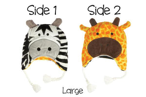 Reversible Winter Hat - Zebra/Giraffe Large