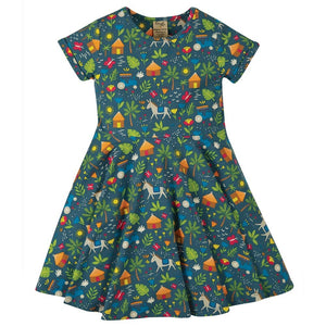 Frugi Spring Skater Dress - Indigo Farm Front