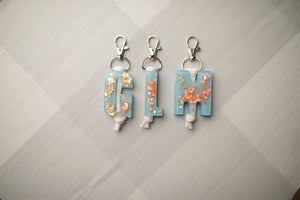Baby Blue Throwback Letter Keychains