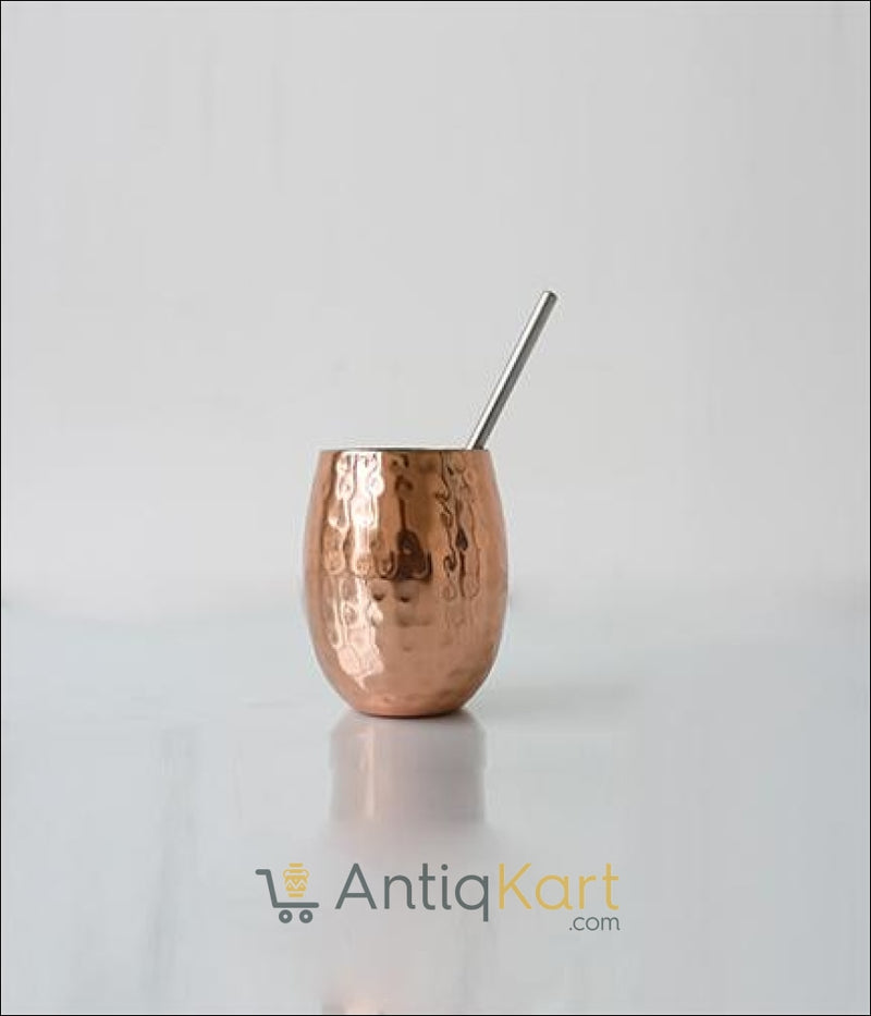 Ancient Glass with Stainless Steel Straw