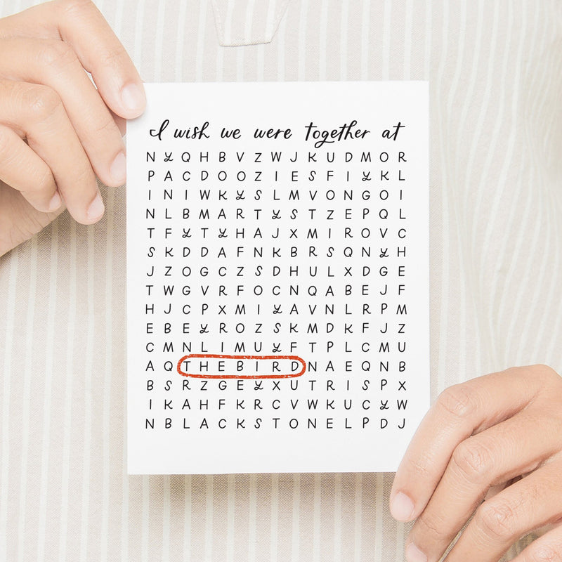 I Wish We Were Together At Word Search Card
