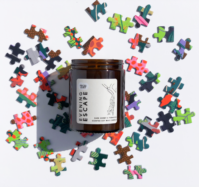 Dark Honey & Tobacco Scented Candle Handpoured candle, vegan soy wax candle paired with adult jigsaw puzzles puzzle pieces