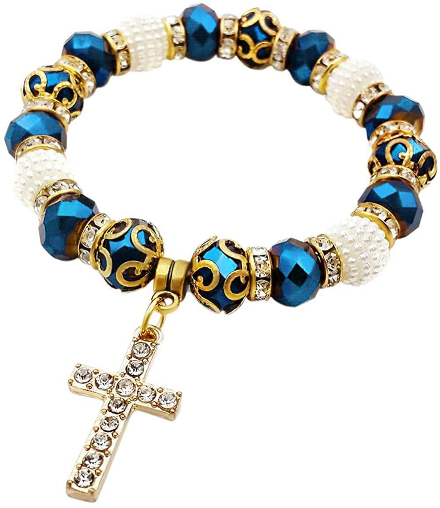 bracelet with blue and and white beads cross charm