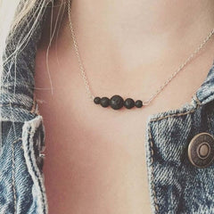 dainty chain necklace with small black round beads pendant