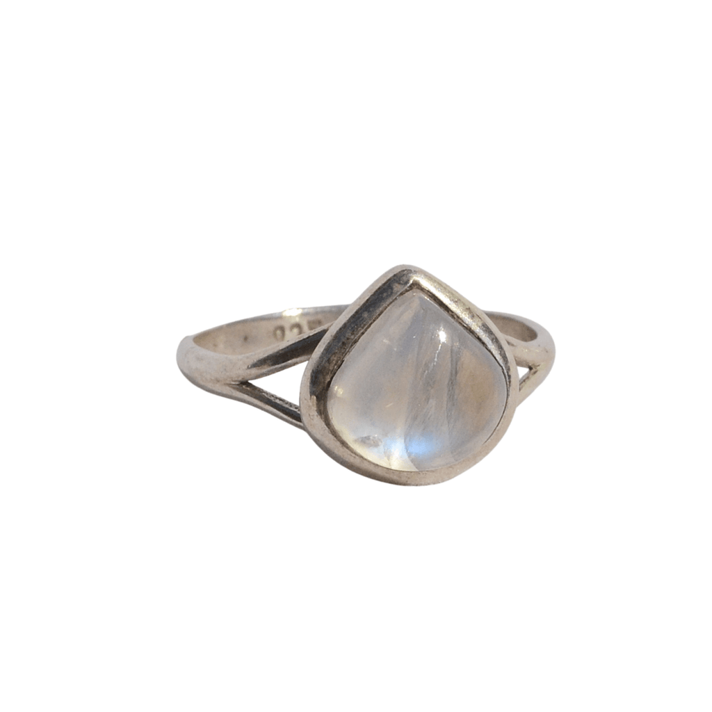 silver ring with smooth tear drop shaped stone close up view