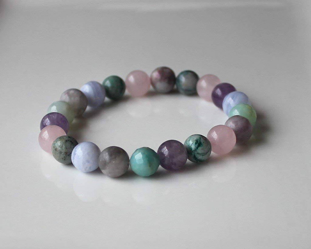 bracelet made up of different colored circular smooth stones