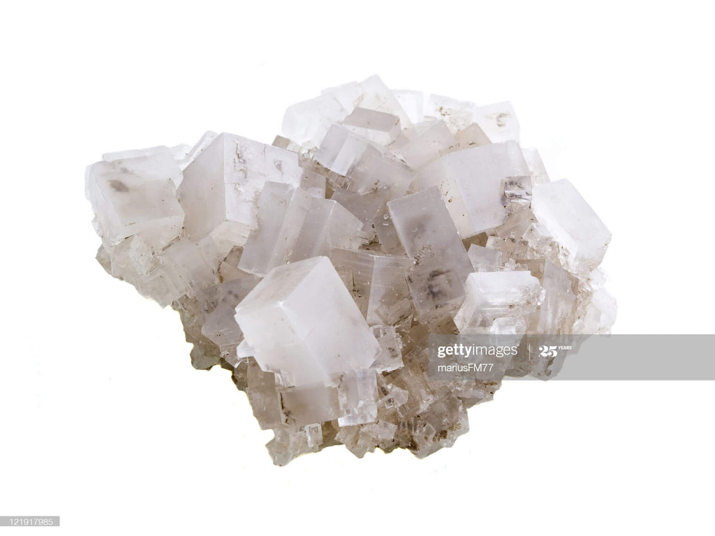raw white crystal rock cubic shaped exterior close up view