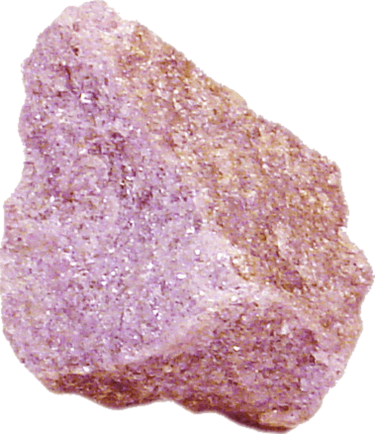 raw unpolished pink rock close up details white background