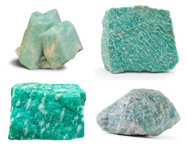 four different types and size of turquoise colored raw rocks