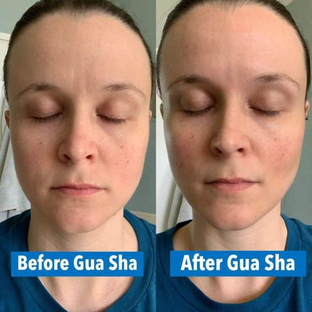 before and after photo of a woman with closed eyes