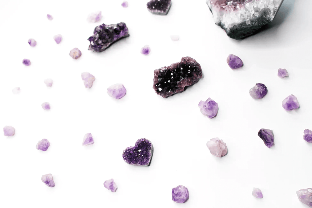 pieces of dark and light purple crystal rocks placed on a white background