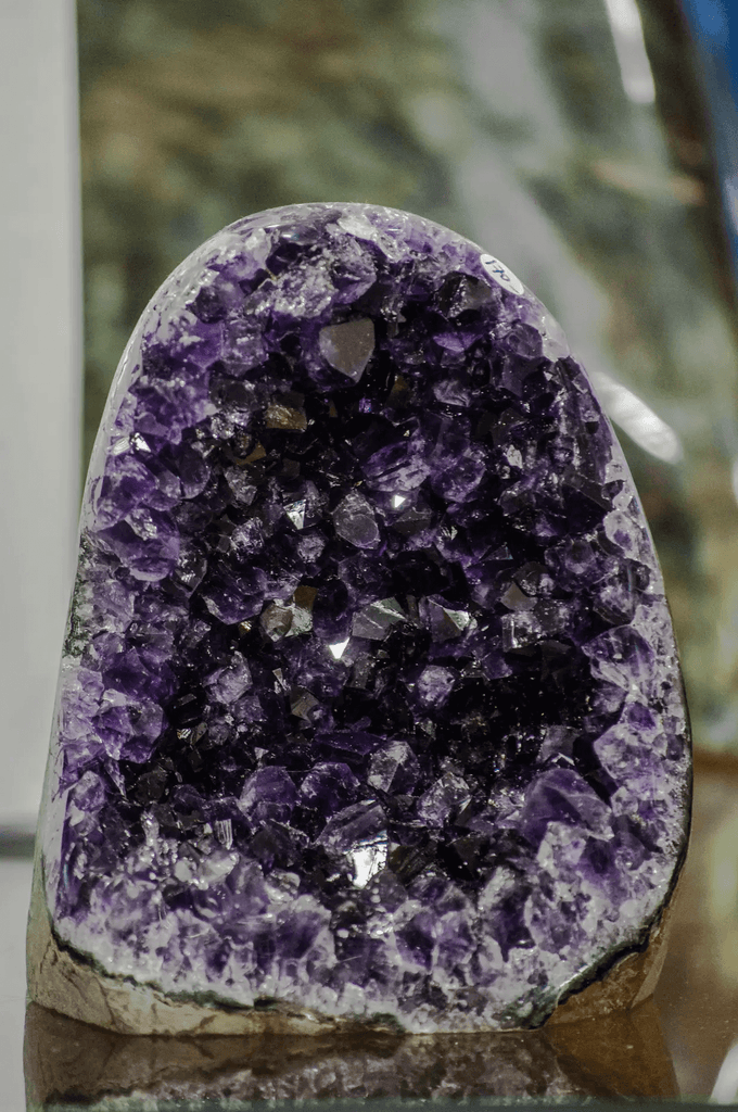 purple crystal rock geode close up view details
