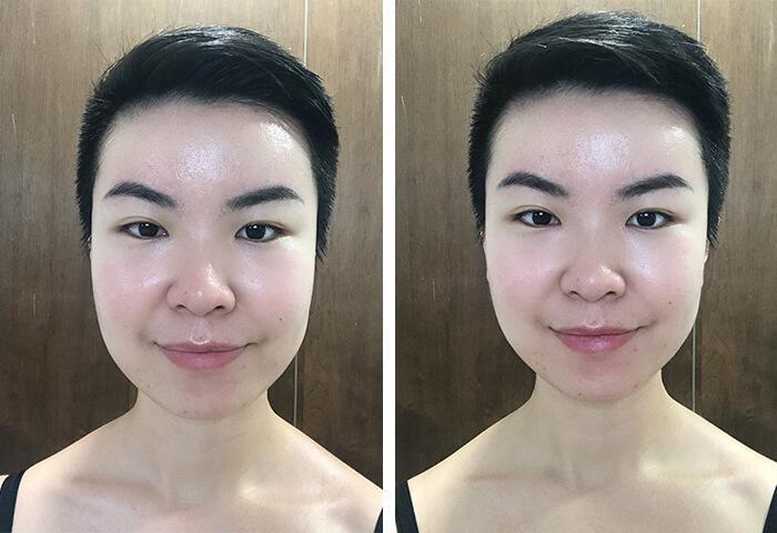 before and after photo of a short-haired Asian woman