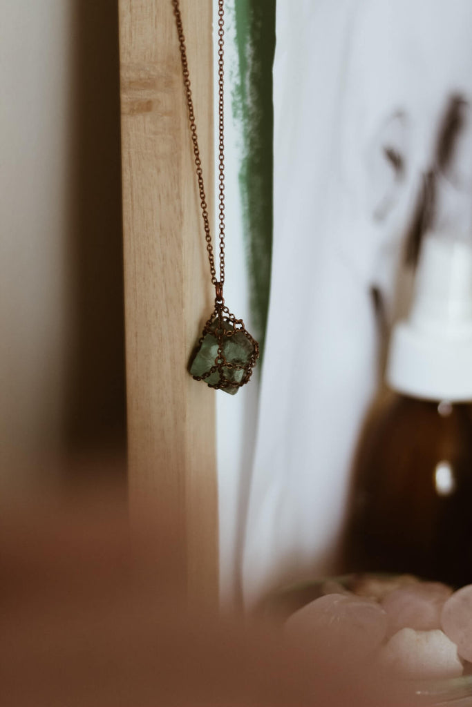 green cube shaped crystal rock wrapped in chains necklace pendant