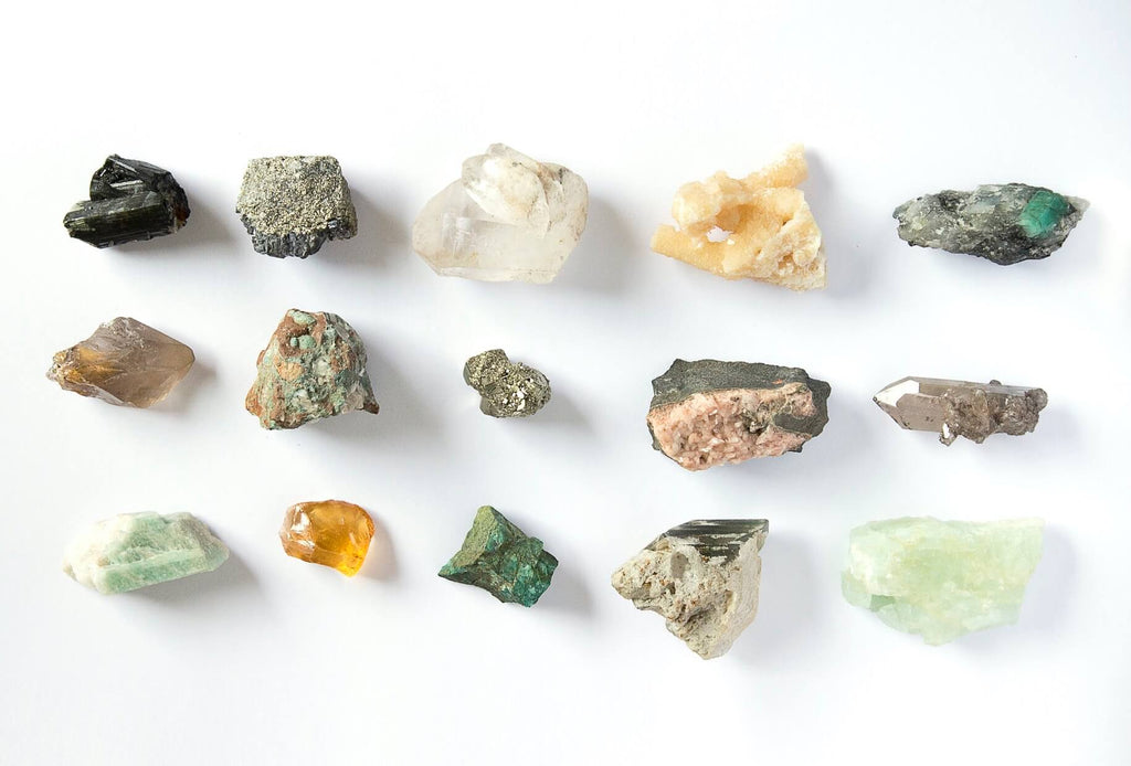 different types colors and sizes of crystal rocks