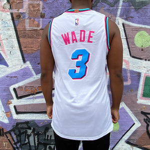 MIAMI HEAT MIAMI VICE EDITION WHITE BASKETBALL JERSEY - DWYANE WADE 3