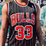 RETRO CHICAGO BULLS BLACK PINSTRIPE BASKETBALL JERSEY - SCOTTIE PIPPEN 33